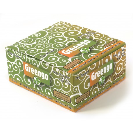 Greengo King Size slim Unbleached rolling paper + tips